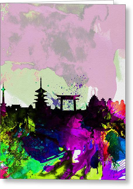 Recently Sold -  - Scenic Greeting Cards - Kyoto Watercolor Skyline Greeting Card by Naxart Studio