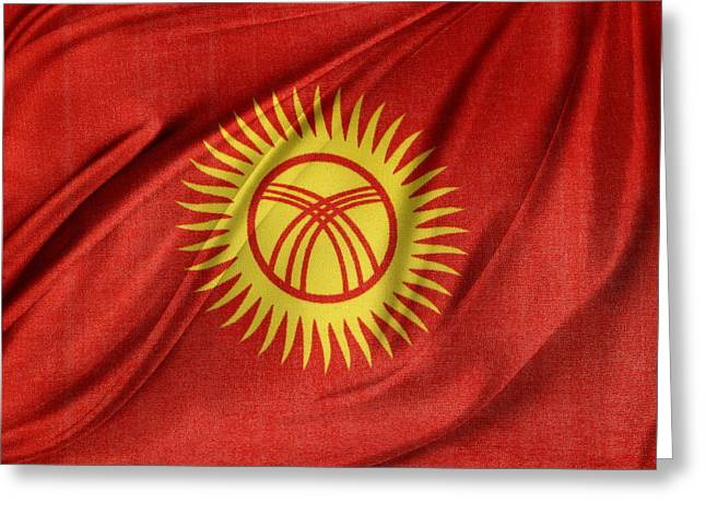 Kyrgyzstan Flag Greeting Card by Les Cunliffe