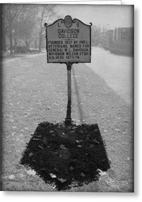 Corporate Elites Greeting Cards - L 9 Davidson College Historical Marker bw Greeting Card by Paulette B Wright