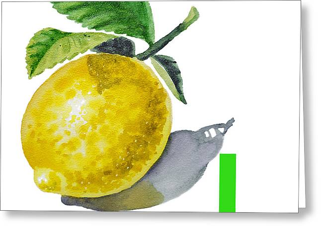 Lemon Art Paintings Greeting Cards - L Art Alphabet for Kids Room Greeting Card by Irina Sztukowski