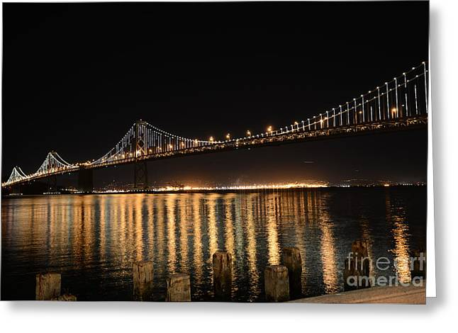 L E D Lights on the Bay Bridge Greeting Card by David Bearden