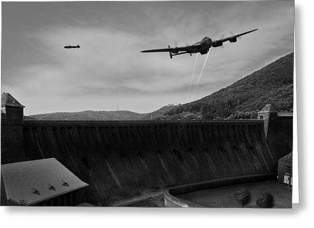 617 Squadron Greeting Cards - L for Leather over the Eder Dam black and white version Greeting Card by Gary Eason