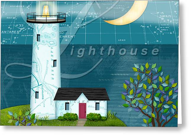 Valerie Lesiak Greeting Cards - L is for Lighthouse Greeting Card by Valerie   Drake Lesiak