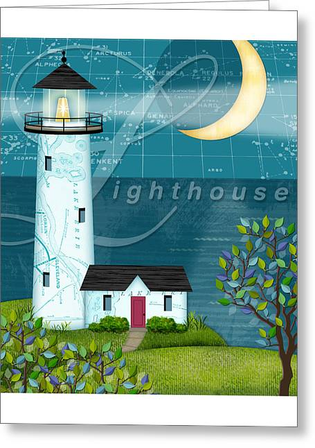 Beach House Decor Posters Greeting Cards - L is for Lighthouse Greeting Card by Valerie   Drake Lesiak