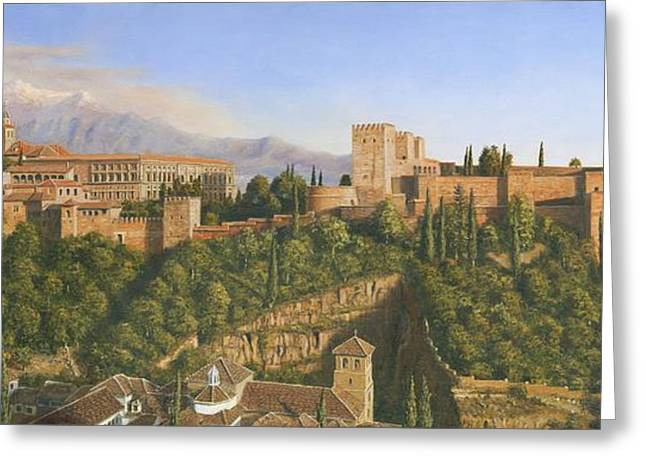 Travelling Greeting Cards - La Alhambra Greeting Card by MGL Meiklejohn Graphics Licensing