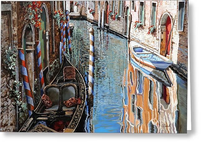 Venedig Greeting Cards - La Barca Al Sole Greeting Card by Guido Borelli