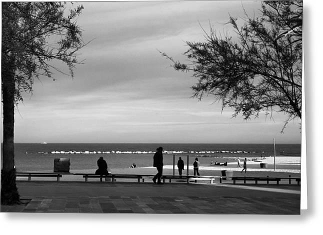 Barceloneta Greeting Cards - La Barceloneta beach Greeting Card by Lluis Ripoll