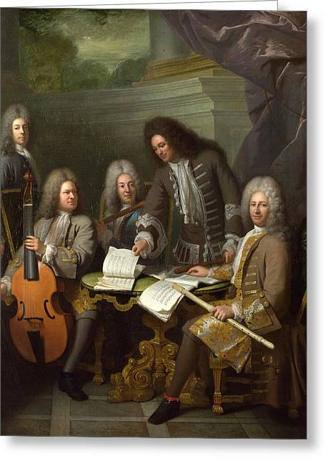 La Barre And Other Musicians Greeting Card by Andre Bouys