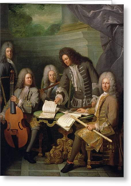Flutes Greeting Cards - La Barre And Other Musicians, C.1710 Oil On Canvas Greeting Card by Andre Bouys