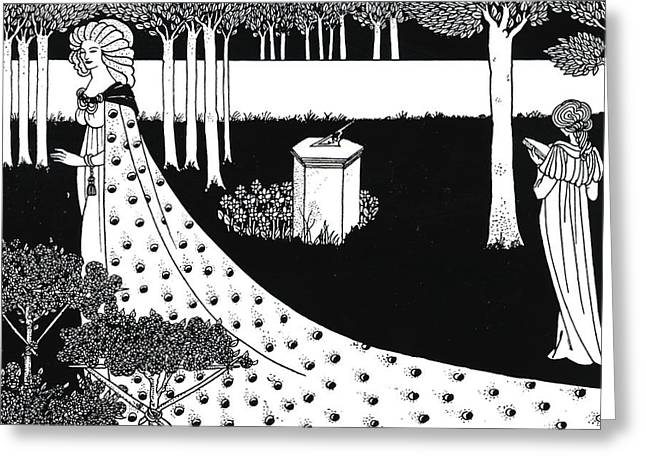 Pen And Ink Framed Prints Greeting Cards - La Beale Isoud at Joyous Gard Greeting Card by Aubrey Beardsley