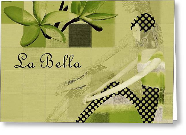 La Bella - Green 01-03 Greeting Card by Variance Collections