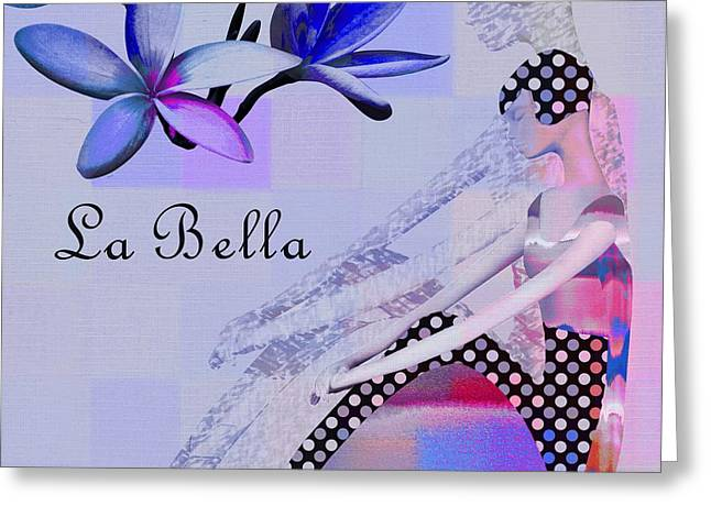 Blue Flowers Digital Art Greeting Cards - La Bella - j647152-04 Greeting Card by Variance Collections