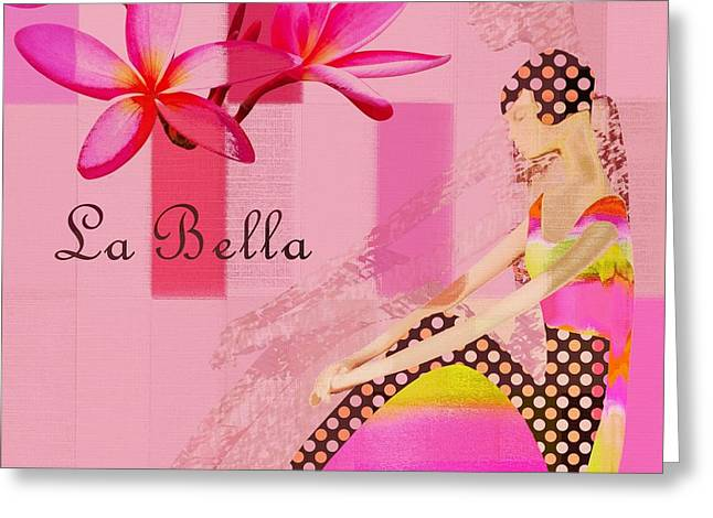 Pink Digital Greeting Cards - La Bella  - Pink - 055152176-02 Greeting Card by Variance Collections