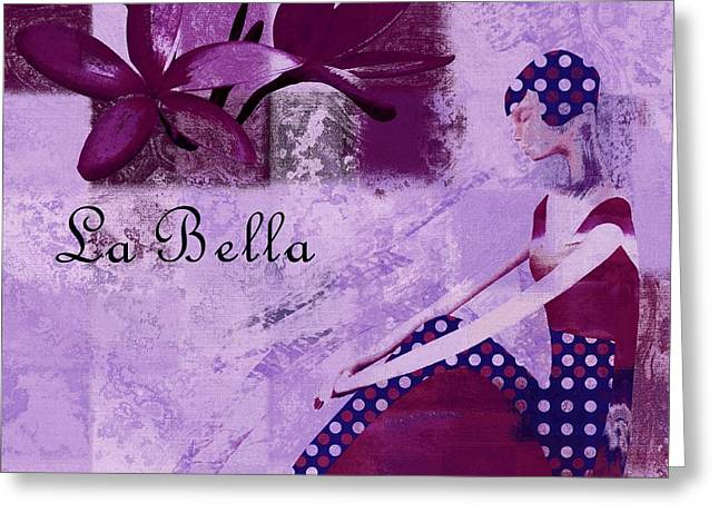 Abstract Portrait Greeting Cards - La Bella - Plum - 0640671052-01b Greeting Card by Variance Collections