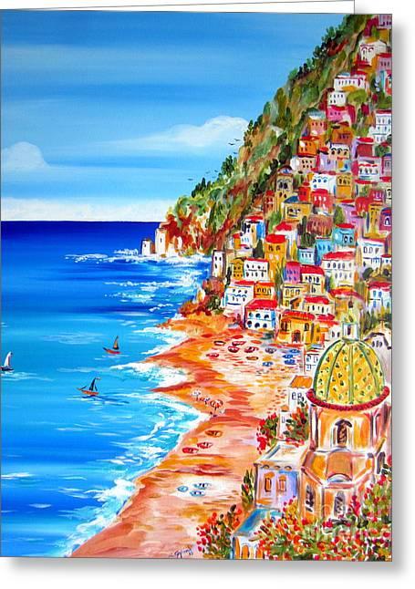 La Bella Positano Amalfi Coast Greeting Card by Roberto Gagliardi