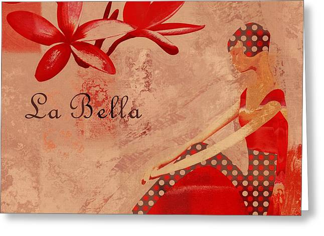 Abstract Portrait Greeting Cards - La Bella - red - 064152173-02 Greeting Card by Variance Collections