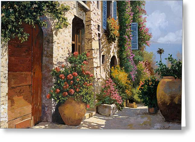 Blue Shadows Greeting Cards - La Bella Strada Greeting Card by Guido Borelli