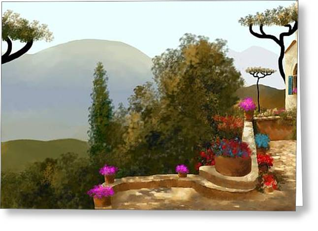 La Bella Terrazza Greeting Card by Larry Cirigliano