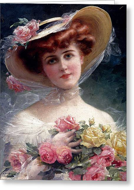 Young Lady Greeting Cards - La Belle Aux Fleurs Greeting Card by Emile Vernon