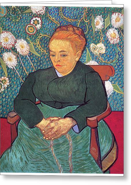Sitting In A Chair Greeting Cards - La Berceuse Greeting Card by Vincent Van Gogh