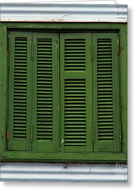 Italian Kitchen Greeting Cards - La Boca Shutter Green Greeting Card by John Daly