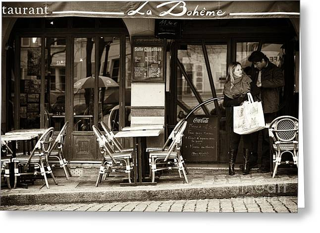 European Restaurant Greeting Cards - La Boheme Greeting Card by John Rizzuto