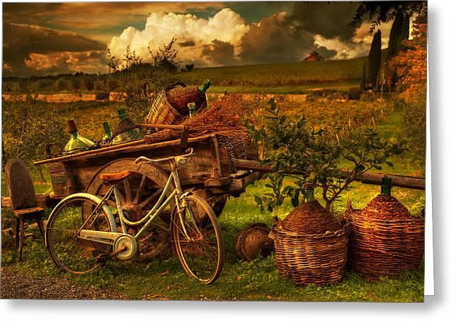 Bicycling Tuscany Greeting Cards - La Bottega Greeting Card by John Galbo