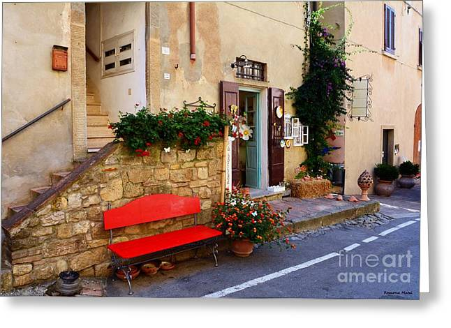 Red Geraniums Greeting Cards - La Bottega  Small typical souvenir shop in Tuscany  Greeting Card by Ramona Matei