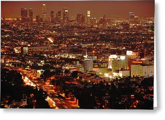 Usa Pyrography Greeting Cards - L.A. by Night Greeting Card by Steffen Schumann