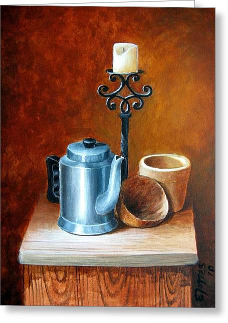 Candle Stand Paintings Greeting Cards - La Cafetera Greeting Card by Edgar Torres