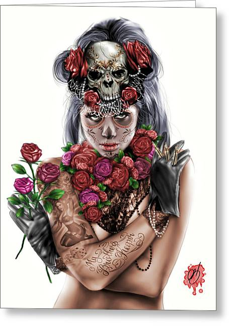 Crying Drawings Greeting Cards - La Calavera Catrina Greeting Card by Pete Tapang