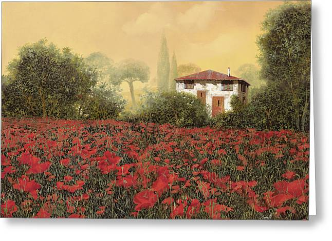 Cypress Greeting Cards - La casa e i papaveri Greeting Card by Guido Borelli