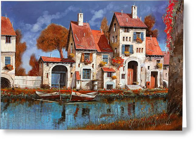 La Cascina Sul Lago Greeting Card by Guido Borelli