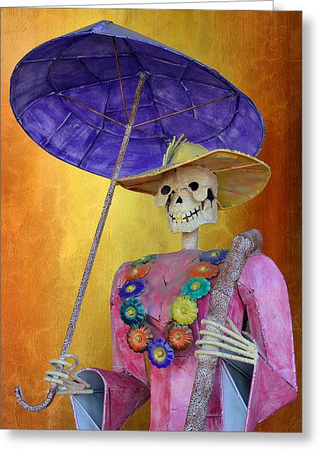 Person Greeting Cards - La Catrina with purple Umbrella Greeting Card by Christine Till