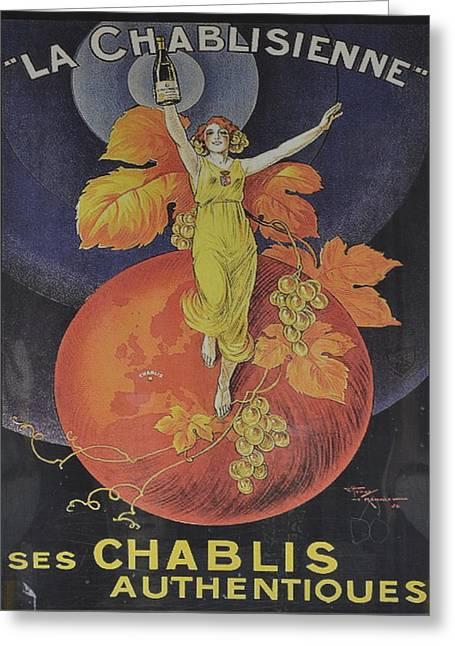 Menu Greeting Cards - LA Chablisienne Greeting Card by Gustave Kurz