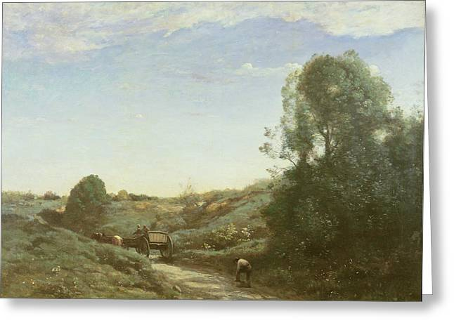 Horse And Cart Photographs Greeting Cards - La Charette, Memory Of Marcoussis Oil On Canvas Greeting Card by Jean Baptiste Camille Corot