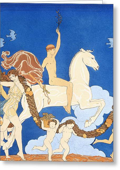 Baby Bird Drawings Greeting Cards - La Cheval Blanc Greeting Card by Georges Barbier