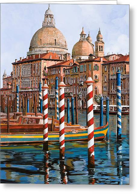 Venedig Greeting Cards - La Chiesa Della Salute Sul Canal Grande Greeting Card by Guido Borelli