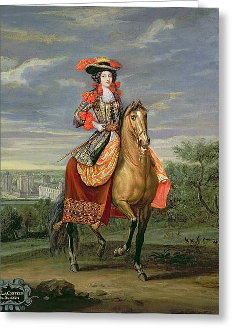 Side Saddle Greeting Cards - La Comtesse De Soissons Riding With A View Of The Chateau De Vincennes Oil On Canvas Greeting Card by Jean-Baptiste Martin