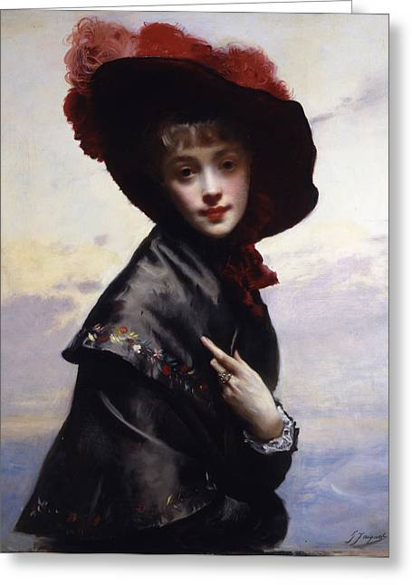 Young Lady Greeting Cards - La Coquette Greeting Card by Gustave Jean Jacquet