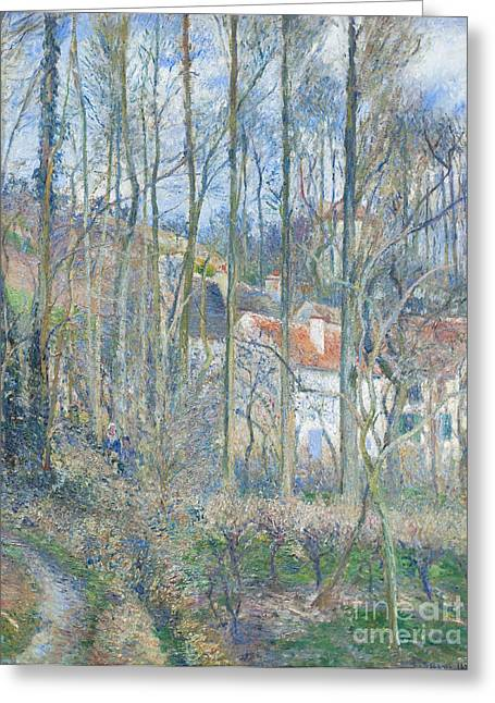Camille Pissarro Photographs Greeting Cards - La cote des boeuf at lhermitage by Camille Pissarro Greeting Card by Roberto Morgenthaler