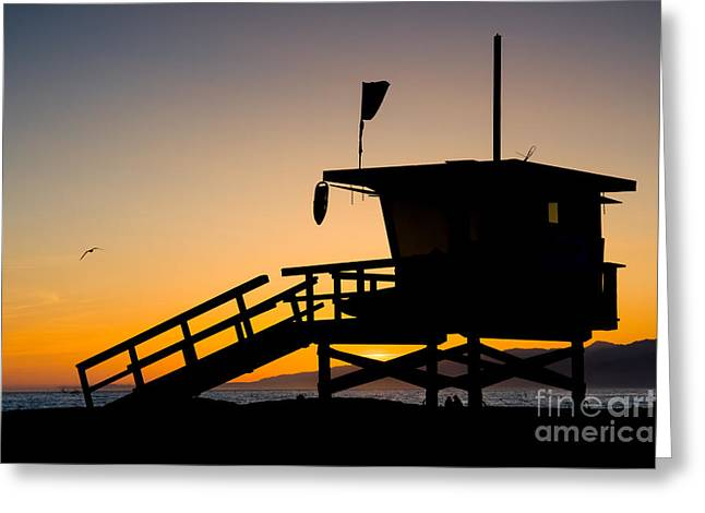 California Beach Greeting Cards - LA County Lifeguard Tower Greeting Card by Chris Putnam