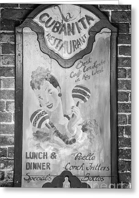 Artifact Photographs Greeting Cards - La Cubanita Restaurant Key West - Black and White Greeting Card by Ian Monk