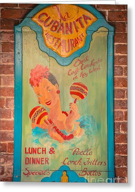 Artifact Photographs Greeting Cards - La Cubanita Restaurant Key West - HDR Style Greeting Card by Ian Monk