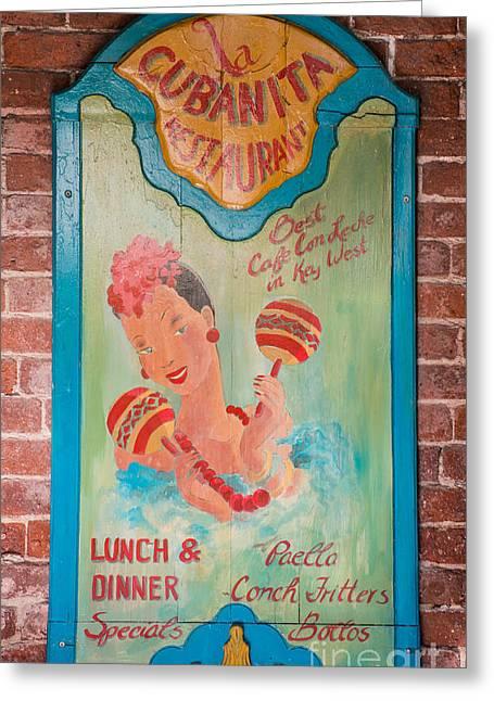 Liberal Greeting Cards - La Cubanita Restaurant Key West Greeting Card by Ian Monk