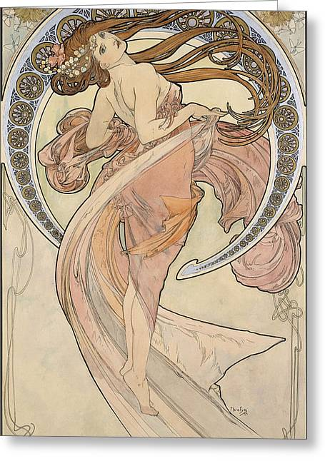 Water Color Artist Greeting Cards - La Danse, 1898 Watercolour On Card Greeting Card by Alphonse Marie Mucha