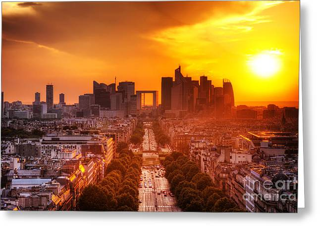 Enterprise Photographs Greeting Cards - La Defense and Champs Elysees at sunset Greeting Card by Michal Bednarek