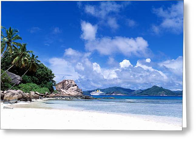 Lapping Greeting Cards - La Digue Island Seychelles Greeting Card by Panoramic Images
