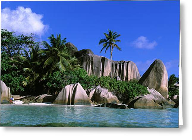 Swimmers Photographs Greeting Cards - La Digue, Island, The Seychelles, Africa Greeting Card by Panoramic Images