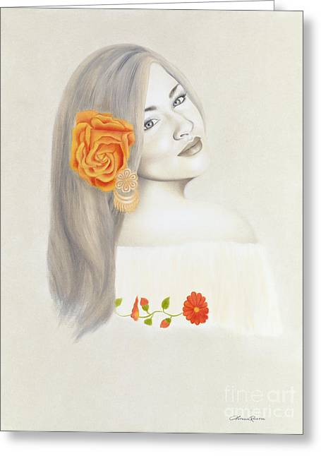 Roses In Her Hair Greeting Cards - La Diva Greeting Card by Lorena Rivera